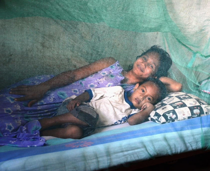 Bernadette and Zaqil Mouzinho sleep under mosquito net. WHO provided technical support to the National Malaria Contry.