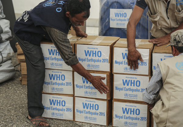 World Health Organization prepares Medical Camp Kit at the WFP warehouse in Bharatpur city in the central-southern part of Nepal.
